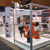 Open plan exhibit stand with working demonstrations