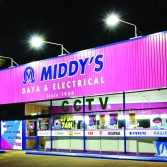Building signage - Middy's store at night