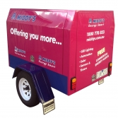 Trailer large format printing application to company promotional trailer.