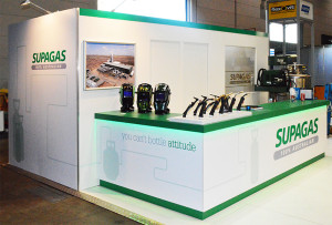Supagas exhibition stand at NMW2015. Main counter and meeting room.